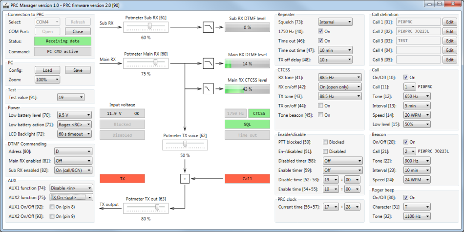 PRC Manager software for monitoring and configuration